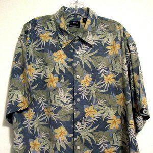 IZOD XL Orchid Floral Silk Hawaiian Button Shirt